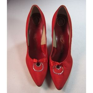 VNTG Sears Featherlite Red Satin Heels Rhinestones